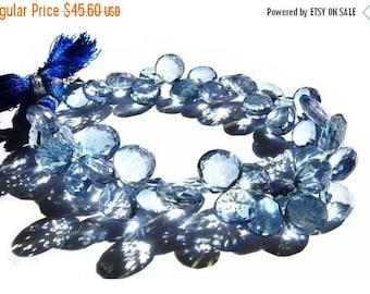 50% Off Sale 1/2 Strand - Blue Mystic Quartz Faceted Heart Briolettes Size - 9 - 10mm