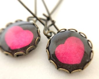 Antiqued brass earrings - Pink Heart on Brown - Dangle Earrings