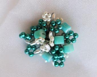 Turquoise, beaded wire, pin back, Brooch,hair accessories,headband jewelry,clothes