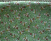 Childrens 1930s Reproduction Cotton Fabric White Lambs on Spring Green