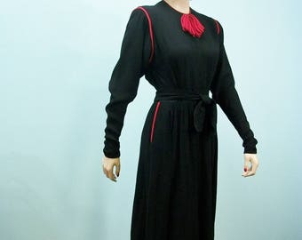 1930s R & K Original Dress . Vintage Black Crepe Dress with Red Trim . Side Button Closure . XS S
