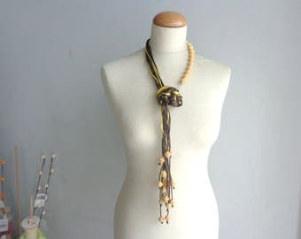 Brown yellow necklace, long necklace, tassel necklace