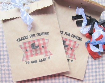 Baby Barbecue Shower Favor Bags w/Ribbons - Set of 10 - Baby Q Kraft Favor Bag Baby Sprinkle Gender Reveal Party Favor