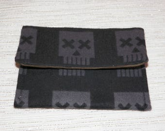 X Eye Skull Card Case Pocket Wallet Skulls on Flannel Black and Gray