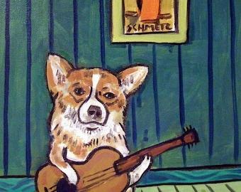 20 % off storewide Corgi with guitar dog art PRINT poster gift modern folk art JSCHMETZ