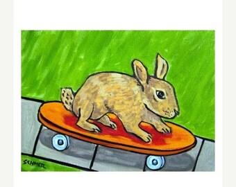 20 % off storewide Bunny Rabbit Skateboarding Animal Art PRINT 11x14 JSCHMETZ modern abstract folk pop art american ART gift