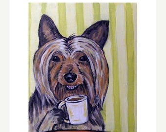 20% off storewide Australian Silky Terrier at the Coffee Shop Dog Art Print