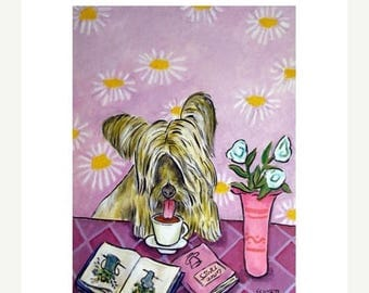 20% off storewide Skye Terrier at the Coffee Shop Dog Art Print