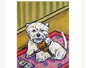 20% off West Highland White Terrier Playing the Violin Dog Art Print