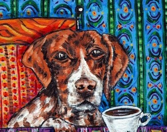 20% off pointer dog- pointer art tile - coaster coffee art,coffee tile, dog art,dog tile, coaster,gift,modern dog art,folk art