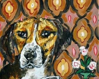 harrier coffee signed art print animals impressionism gift new dog prints 13x19