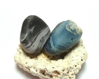 UNdrilled Beach Stones LELAND BLUES Slag Glass Sea Slag Glass Rocks Beach Pebbles Jewelry Tumbled Glass Rocks Large Lapidary Collector