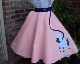 felt poodle skirt, peachy pink, girls size full circle 50's skirt