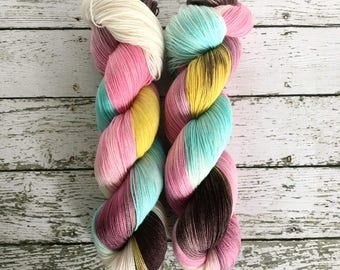 RETRO DAISY - Hand Dyed Yarn - Signature Merino Nylon Sock Yarn Fingering - Ready to Ship - Vivid Yarn Studio