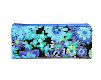 Cosmetic Case, Cord Case, Bridesmaid Gifts, All-Purpose Zipper Case, Gold Trimmed Blue Floral 9071