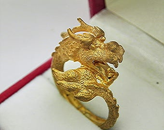 14K Gold Dragon Ring Hand made. Highly detailed 8.5 grams Available in 14K, 18K, 21K, 22K and 24K gold