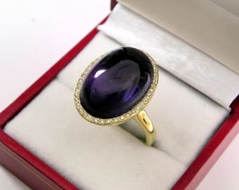 AAAA Amethyst 18 x 13mm  13.10 Carats   14K Yellow gold Diamond halo cabochon ring. 1520