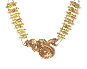 HALF PRICE SALE Golden statement snake necklace and earrings set Last One