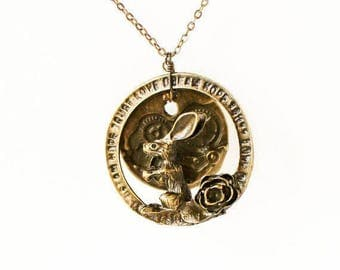 HALF PRICE SALE Bunny rabbit with gears and cogs pendant antique bronze necklace Last One
