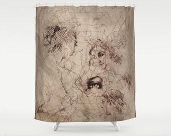 Fine Art Figure Drawing Printed Fabric Shower Curtain Sepia Art Themed Decor