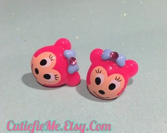 Pink Mouse or Bear Stud Earrings
