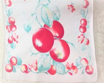 Vintage Tea Towel Kitchen Linens Dish Cloth Hand Towels Fruit Apples Table Runner Vintage Linens