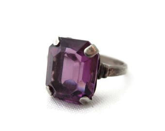 Statement Ring - Sterling Silver and Amethyst Glass, Clarke & Coombs Estate Jewelry