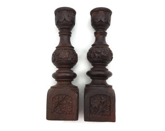 Carved Wood Candlestick Pair - India Boho Home Decor