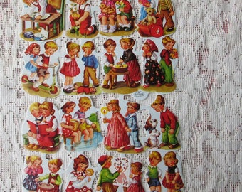 Germany Vintage Children Playing Pets Lithographed Die Cut Paper Scraps Kruger Out Of Print  002