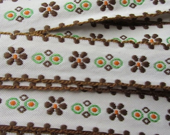 Italy 2 Yards Vintage Edging Embroidered White Brown Orange Green Fabric Sewing Trim   RV 108