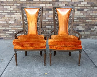 2 HOLLYWOOD REGENCY ornate orange tall velvet arm chairs