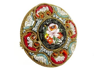 Antique Vintage Micro Mosaic Brooch 1930s Jewelry