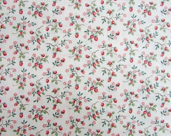 Vintage Cotton Fabric, Small Figure Design of Little Strawberry Plants with Berries and Flowers on a Pale Pink Background, Quilting, Sewing