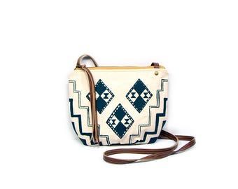 date purse  • crossbody bag - geometric print canvas • dark teal geometric print - waxed canvas - gifts under 50 - screenprinted