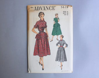 1950s Dress Pattern / Vintage 50s Advance Pattern Uncut FF / 50s Sewing Pattern Full Skirt Dress with Pockets 5619 sz 16 34 bust S M