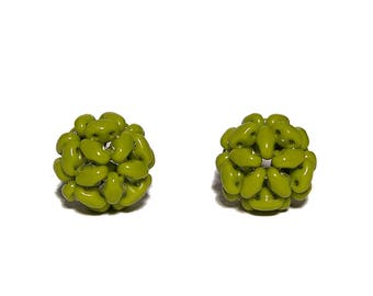 MiniDuo Beads Beaded Beads Opaque Olive 12mm 2pcs