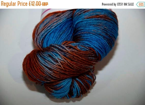Christmas In July Hand-Dyed Yarn in Earth and Sky Colourway Sock Yarn Superwash Wool/Nylon Tootsie Base