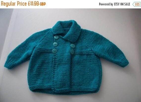 Christmas In July Handknitted Child's Cardigan in Turquoise size 18 month old