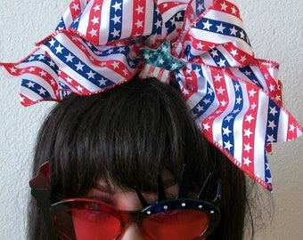 Patriotic 4th of July Red White and Blue One of a Kind Stripes and Stars Headband Ribbons, Glitter Stars, Mesh netting