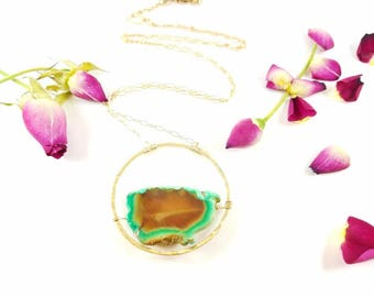Aqua Agate raw edge stone slice floating in Gold Vermeil hammered frame long necklace