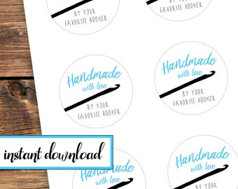 Printable Sticker Set - Handmade with love by your favorite hooker - crochet gift stickers - avery round labels - blue black white