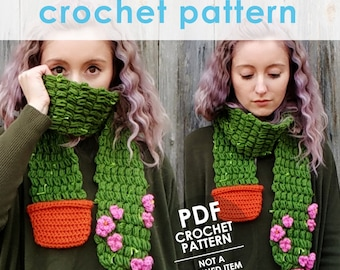 crochet pattern, scarf pattern, flowering cactus scarf, cactus, succulents, winter scarf, gift for gardeners, womens scarf, diy gift