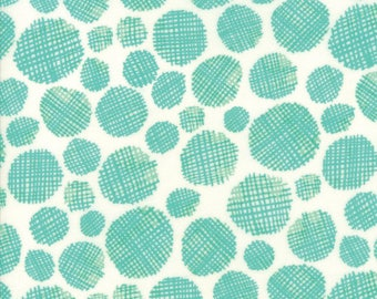 Midnight Garden Fabric // Teal Gridded Dots Quilting Fabric  // 1canoe2 // cotton quilting