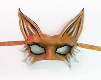 Leather Fox Mask  half face fox Sexy mask entirely handcrafted lightweight easy to wear