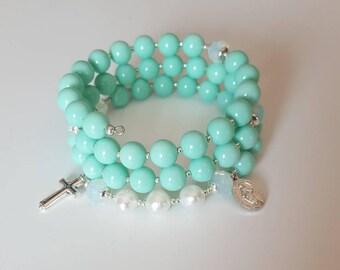 Rosary bracelet for women| beaded bracelet| rosary wrap| confirmation gift| godmother proposal gift| religious gift| gift for mom