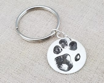 Mens Personalized Gift - Dog Paw Print Keychain - Sterling Silver Personalized Key Chain - Cat Print Key Chain
