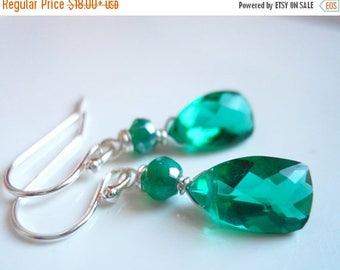 QUICKIE SALE 15% OFF, Christmas Earrings, Emerald Green Pyramid earrings, Quartz pyramid emerald green earrings, Style: Mini Cleo Goddess