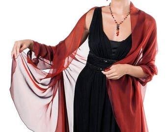 Promo Sale: Venetian Red Evening  Silk Chiffon Stole/ Wrap/ Shawl with semi-sleeves