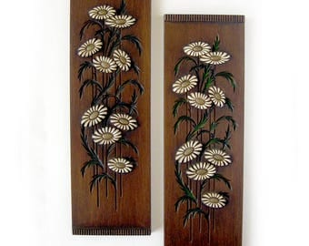 Mid-Century Decor / Floral and Wood-Look Wall Art with Wildflowers - Burwood Products Inc /  Pair of Vintage Wall Hangings Walnut Teak Look