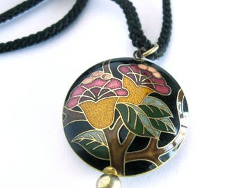 Floral Cloisonné Pendant with Long Black Tassel / Black Medallion with Green, Gold and Pink Floral Enamel / Puffy Charm Necklace / Wife Gift